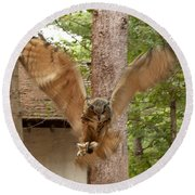Eagle Owl Makes The Leap Round Beach Towel