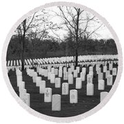 Eagle Point National Cemetery In Black And White Round Beach Towel by Mick Anderson