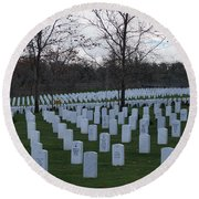 Eagle Point National Cemetery In Winter 1 Round Beach Towel