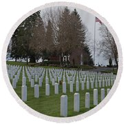 Eagle Point National Cemetery In Winter 2 Round Beach Towel