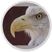 Eagle Portrait Freehand Round Beach Towel