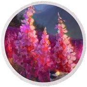 Eagle River Summer Chickadee And Fireweed Alaskan Landscape Round Beach Towel