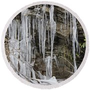 Eagle Rock Icicles Round Beach Towel