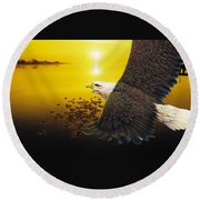 Eagle Sunset Round Beach Towel