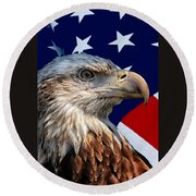 Eagle With Us American Flag Round Beach Towel
