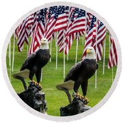 Eagles And Flags On Memorial Day Round Beach Towel