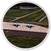 Eagles On The Ramp Round Beach Towel