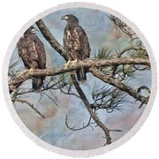 Eaglets In Oil Round Beach Towel