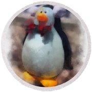 Ear Muff Penguin Photo Art Round Beach Towel