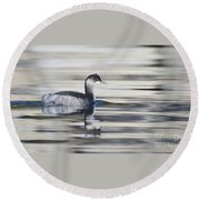 Eared Grebe Round Beach Towel
