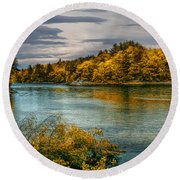 Early Autumn Along The Androscoggin River Round Beach Towel