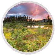 Early Autumn Meadow Sunset At Mt Baker Round Beach Towel