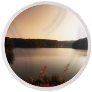 Early Autumn On The Lake Round Beach Towel