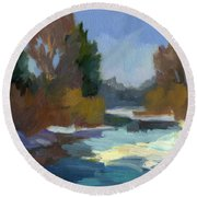 Early Autumn Snow Round Beach Towel