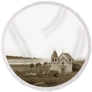 Early Carmel Mission And Point Lobos California Circa 1884 Round Beach Towel