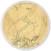 Early Computer Mouse Patent Yellowed Paper Round Beach Towel
