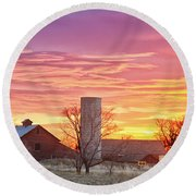 Early Country Morning Sunrise Round Beach Towel