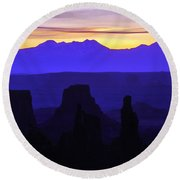 Early Dawn At Mesa Arch Overlook Round Beach Towel