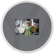 Early Evening Fairy Round Beach Towel