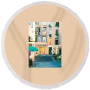 Early Evening In Paris Round Beach Towel