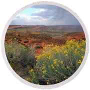 Early Evening Landscape At Arches National Park Round Beach Towel