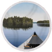 Early Evening Paddle Aka Paddle Muskoka Round Beach Towel