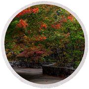 Early Fall At Talimena Park Round Beach Towel