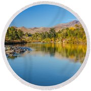 Early Fall On The Payette Round Beach Towel