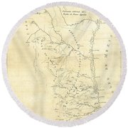 Early Hand-drawn Southern Texas Map C. 1795 Round Beach Towel