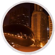 Early Hours In Chicago Round Beach Towel
