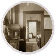 Early Kitchen With A Wood Kitchen Stove Circa 1906 Round Beach Towel