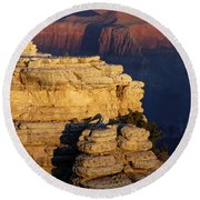 Early Light In The Canyon Round Beach Towel