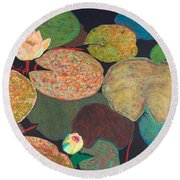 Early Mist Round Beach Towel