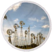 Early Model Wind Farm Round Beach Towel