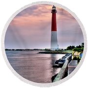 Early Morn At Barnegat Light Round Beach Towel