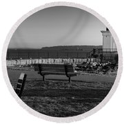Early Morning At Bug Lighthouse Bw Round Beach Towel