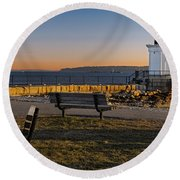 Early Morning At Bug Lighthouse Round Beach Towel