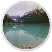 Early Morning At Lake Louise Round Beach Towel