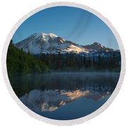 Early Morning At Mount Rainier Round Beach Towel