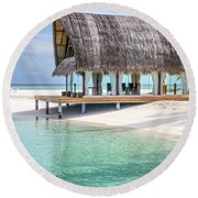 Early Morning At The Maldivian Resort Round Beach Towel
