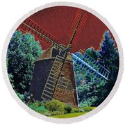 Early Morning At The Mill Round Beach Towel