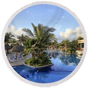 Early Morning At The Pool Round Beach Towel