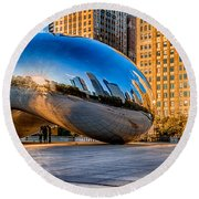Early Morning Bean In Chicago Round Beach Towel