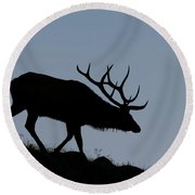 Early Morning Bull Elk Round Beach Towel