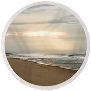 Early Morning By The Shore  Round Beach Towel