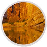 Early Morning Canyon Reflection Round Beach Towel