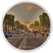 Early Morning Champes Elysees  Round Beach Towel