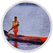 Early Morning Fishing In India Round Beach Towel