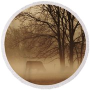 Early Morning Fog 002 Round Beach Towel