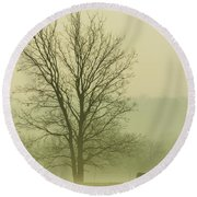 Early Morning Fog 016 Round Beach Towel